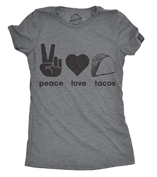 aaa710fc Womens Peace Love Tacos Tshirt Funny Valentines Day Food Tee for Ladies -S  Dark Heather