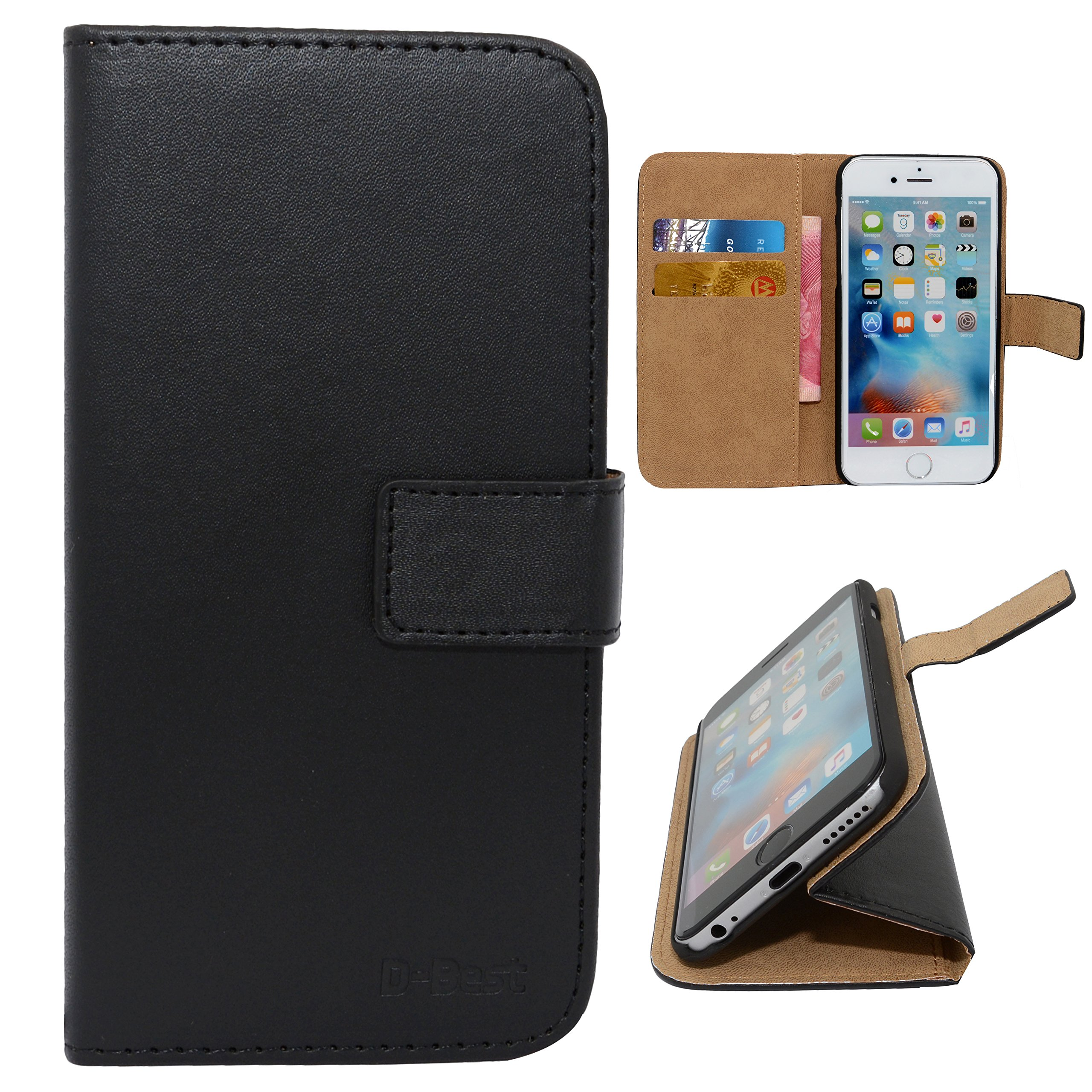 D-Best iPhone Se Case, Premium PU Leather Flip Wallet Case with Credit Card Slot Holder and Hand Grip for Apple iPhone Se and iPhone 5S/5 (Black)