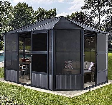 Sojag Charleston - Cenador de aluminio para jardín (384 x 384 x 281 cm): Amazon.es: Jardín