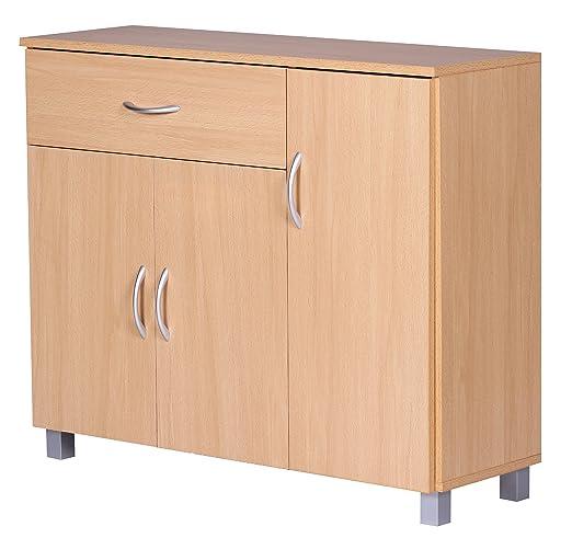Wohnling WL1, 333 cómoda 90 x 75 cm con 3 Puertas y 1 cajón, Madera de Haya