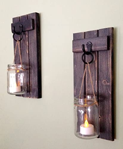 "Rustic Wooden Candle Holder, Mason Jar Candle Wall Sconce, Set Of Two, 12""x5"",in Weathered Black!"