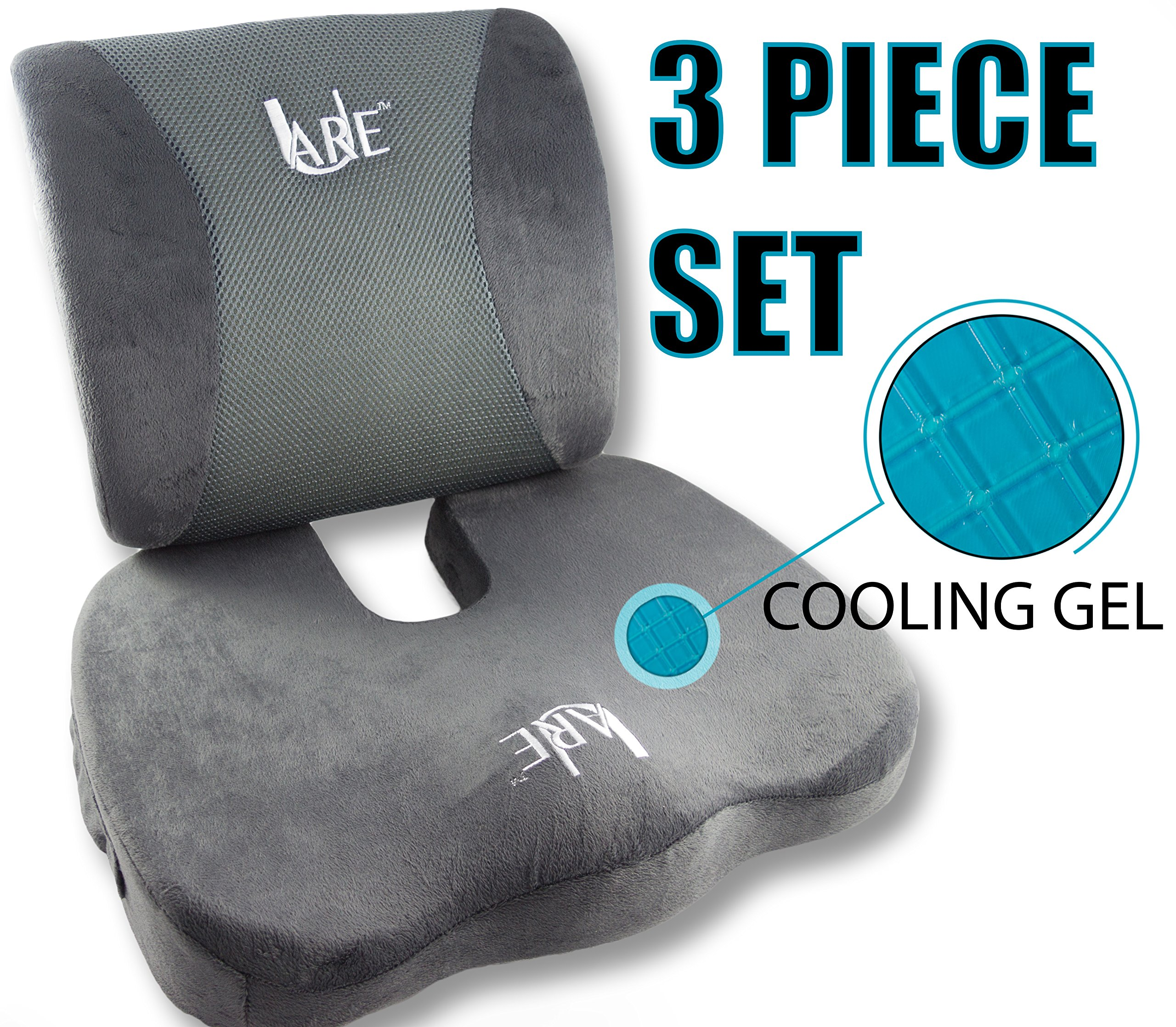 SET: Cool Gel Memory Foam Seat Cushion with Rain Cover and Lumbar Support Pillow for Office Chair and Car Seat Cushions - Ultimate Comfort Set Relieves Back Pain, Tail Bone Pain, Sciatica Seat Cushion by U-Are