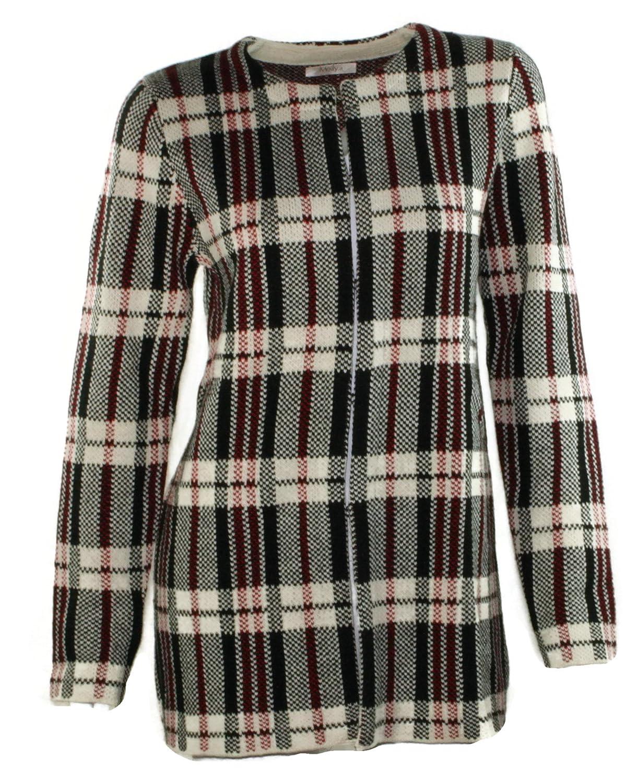 #1103 Damen Designer Jacke kariert Mantel Cardigan Strickjacke Onesize 34 36 38 Rot Blau Schwarz