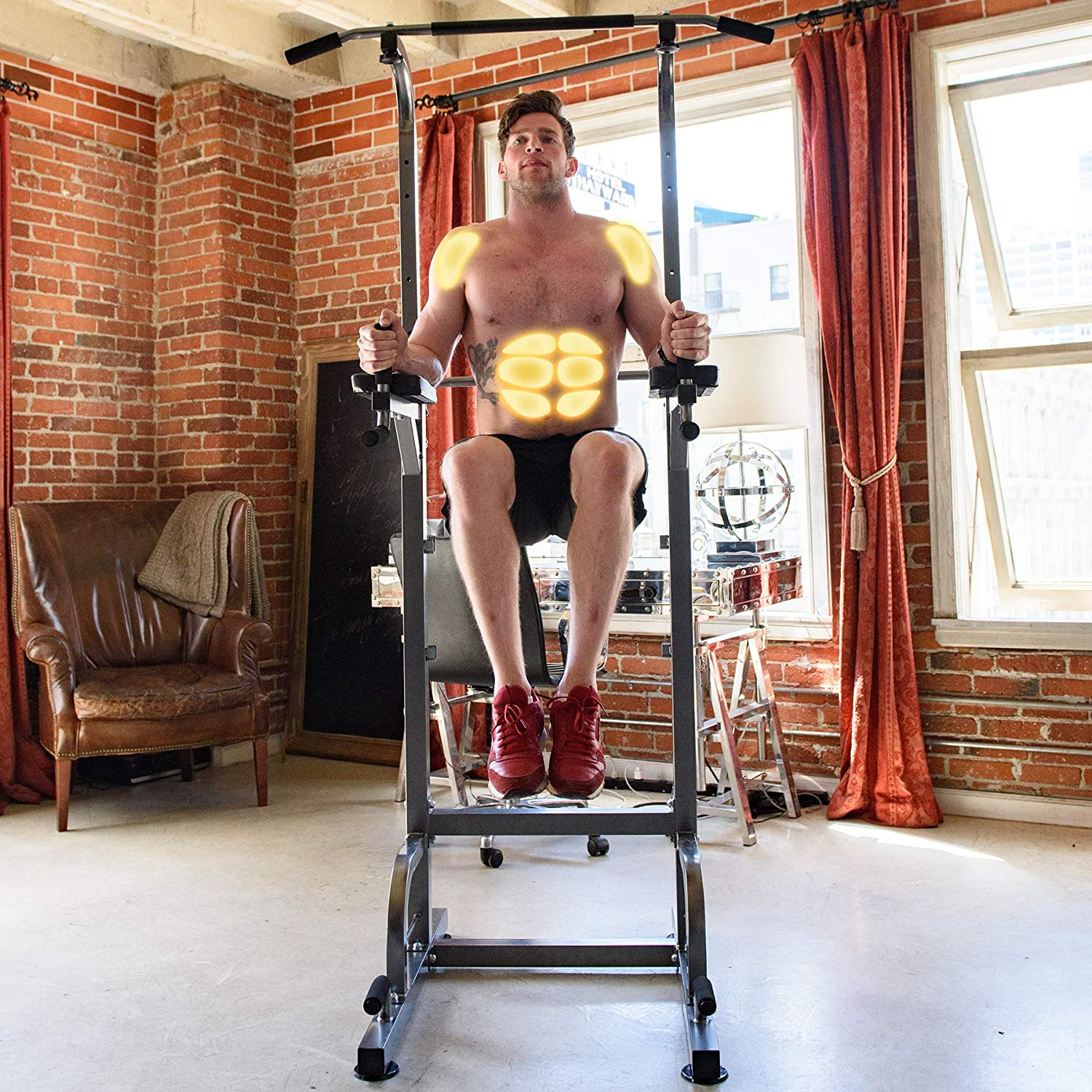 RELIFE REBUILD YOUR LIFE Power Tower Workout Dip Station for Home Gym
