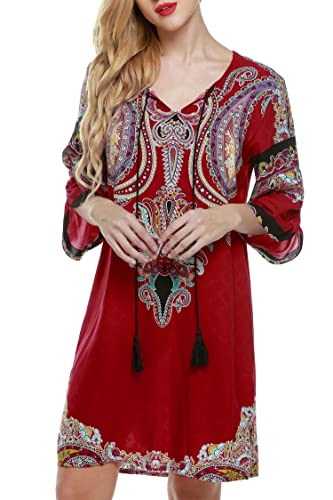 ACEVOG Women's Summer Ethnic Style Tribal Printed Mini Beach Floral Tunic Dress