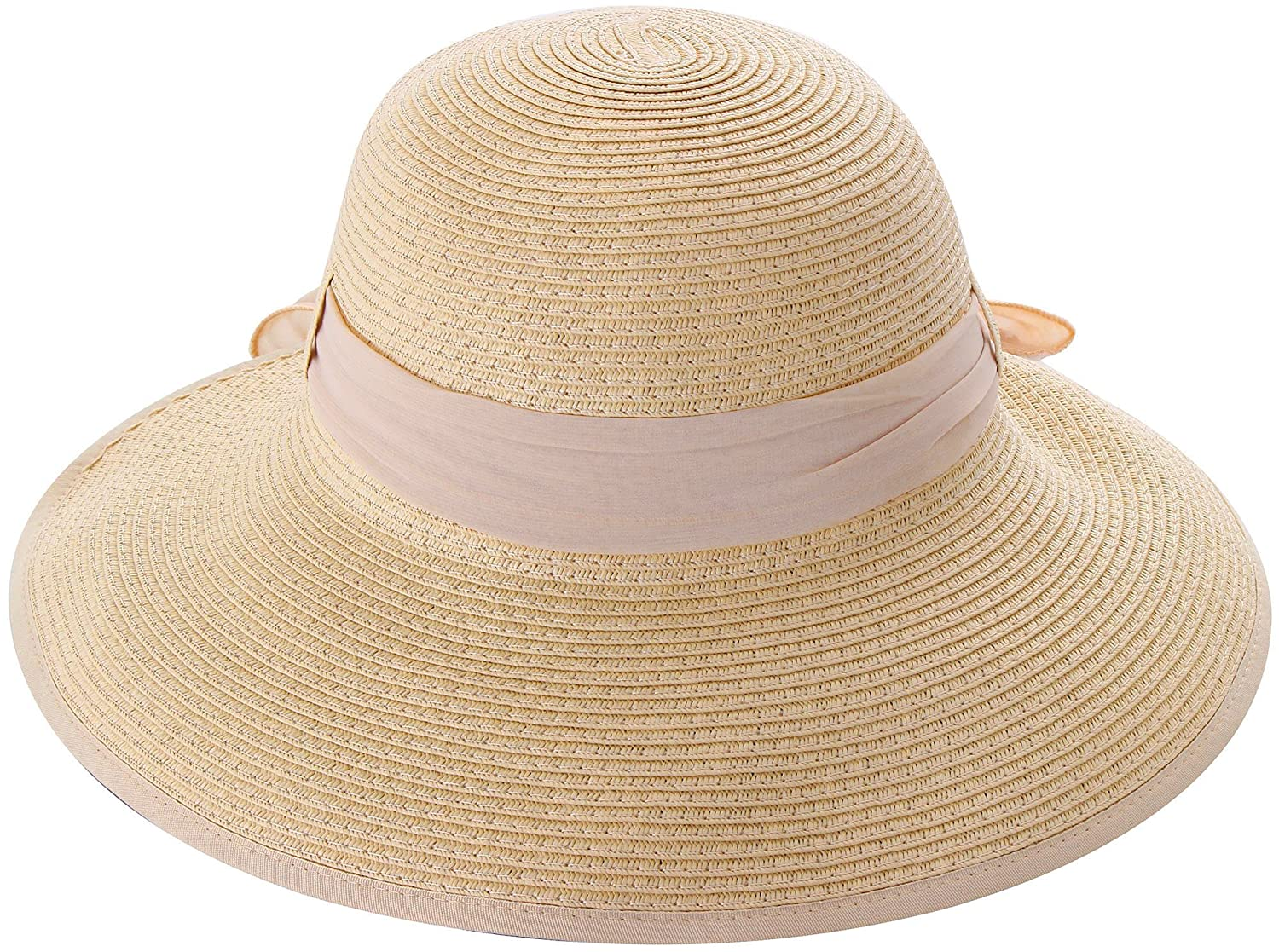 3bb54b14d67 Simplicity Women s Wide Brim Summer Beach Straw Hats 2049 Natural w Pink  Ribbon at Amazon Women s Clothing store  Straw Bonnet