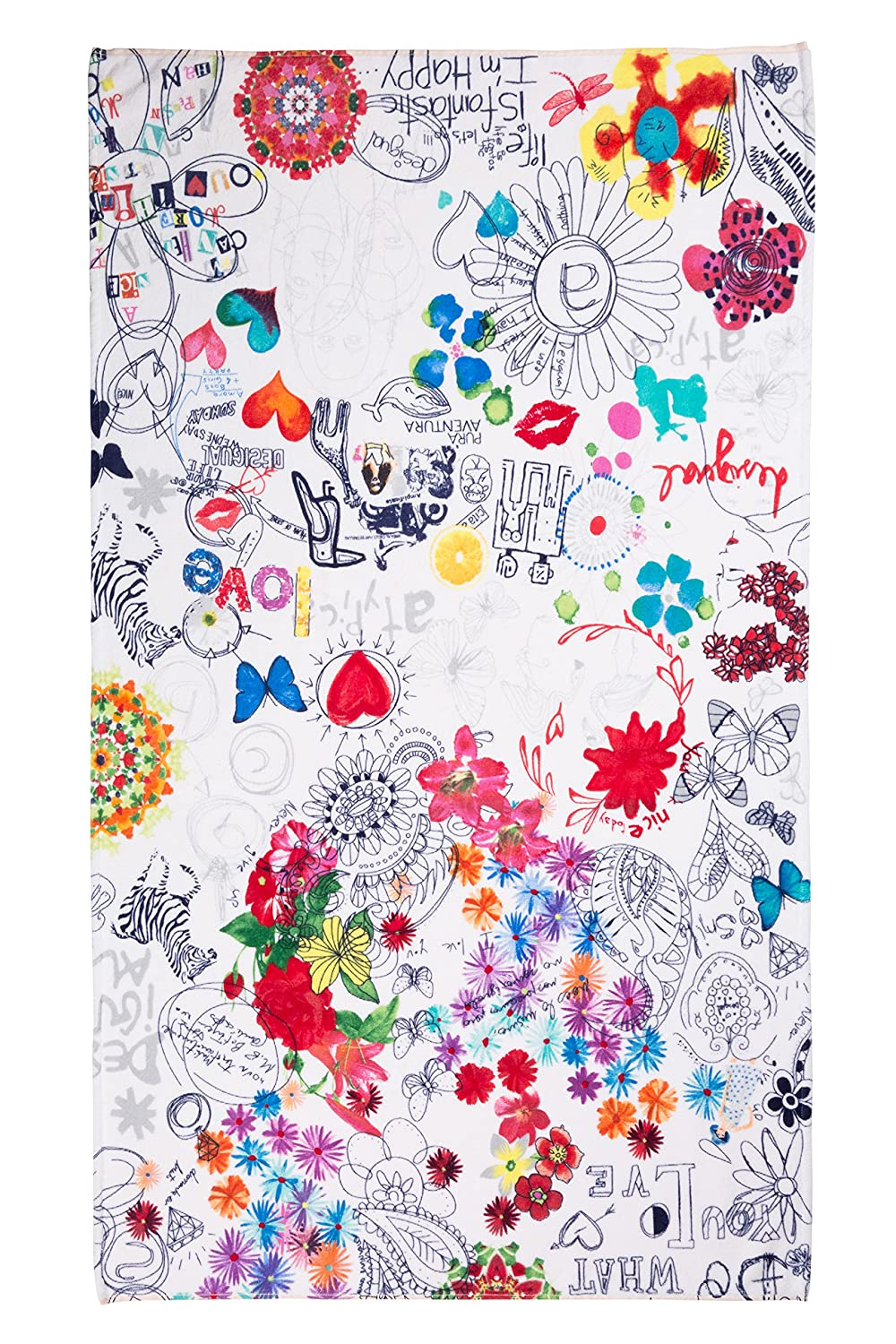 Desigual Living Bolimania - Toalla de Ducha, Color Blanco: Amazon.es: Hogar