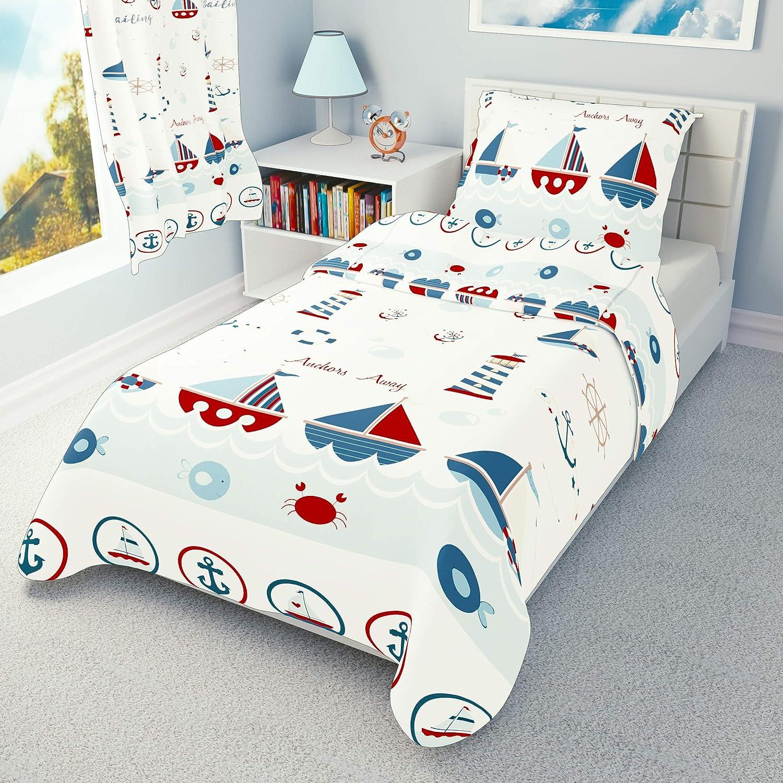 Pillowcase 90 cm x 120 cm Bedding Set Sailing Boats to fit cot 60x120 cm Duvet Cover 90x120 cm