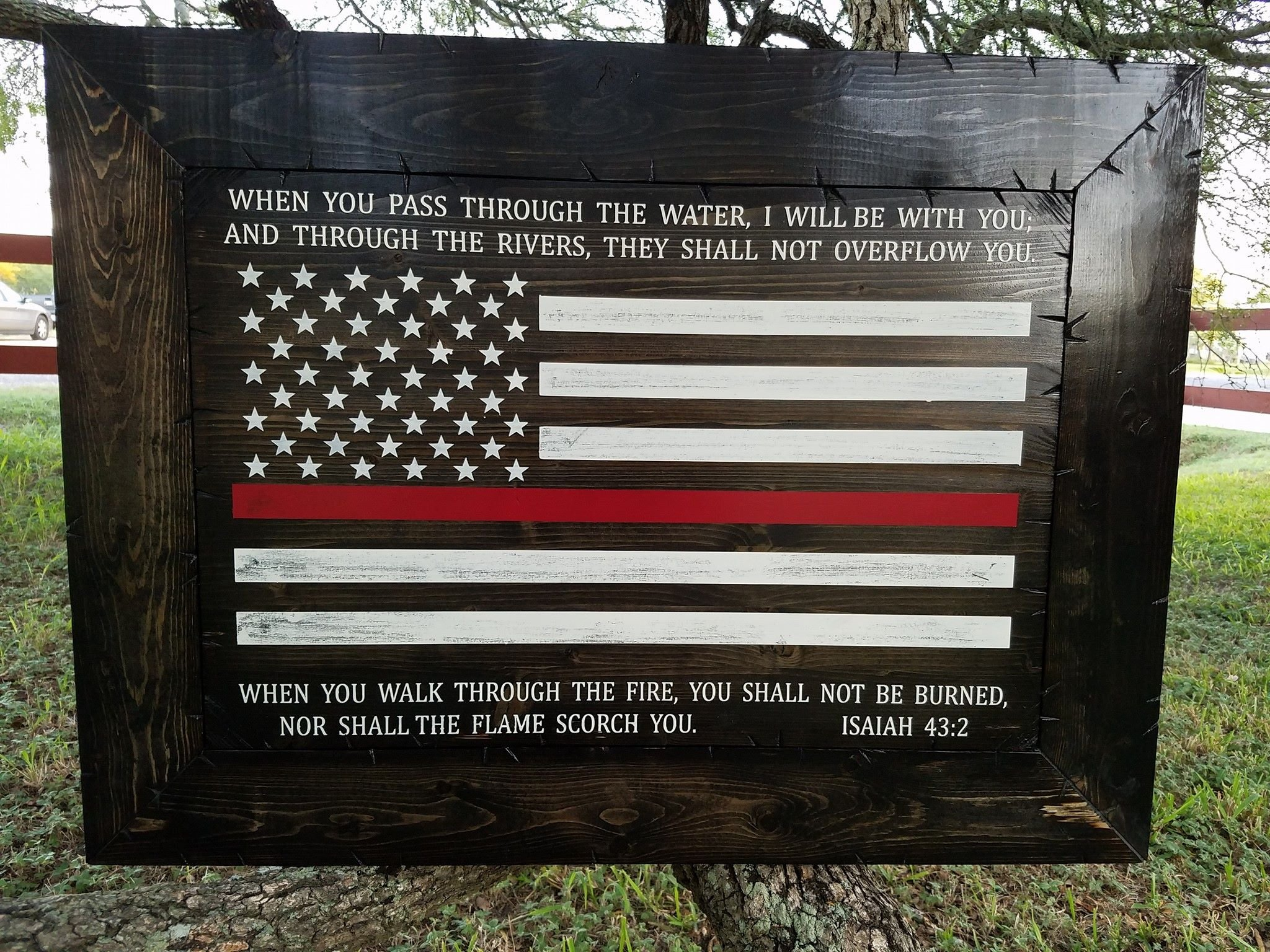Rustic Style Thin Red Line Firefighters Isaiah 43:2 Sign (Framed, 23''x31'')
