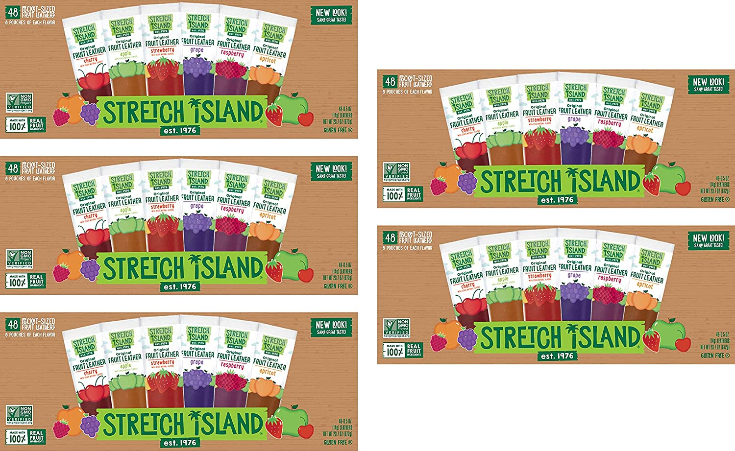 Stretch Island Fruit Leather Snacks Variety Pack, 0.5 Ounce, Pack of 48, -5 Pack