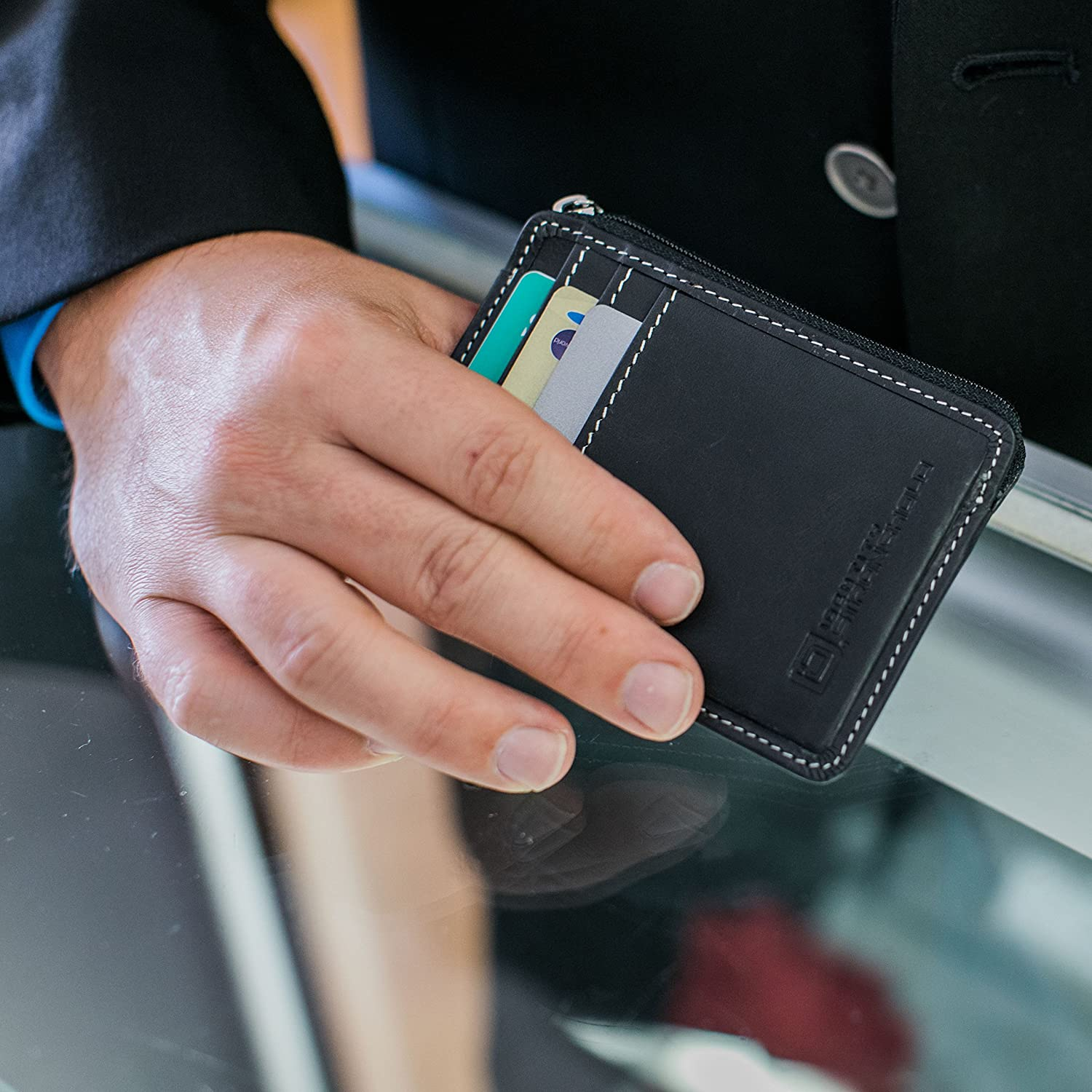 RFID Front Pocket Wallet Minimalist Wallet Slim Wallet Exquisite Rugged Leather with Zipper Brown