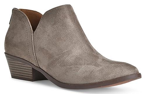 LUSTHAVE Women's Madeline Western Almond Round Toe Toe Slip on Bootie - Low Stack Heel - Zip Up - Ca...