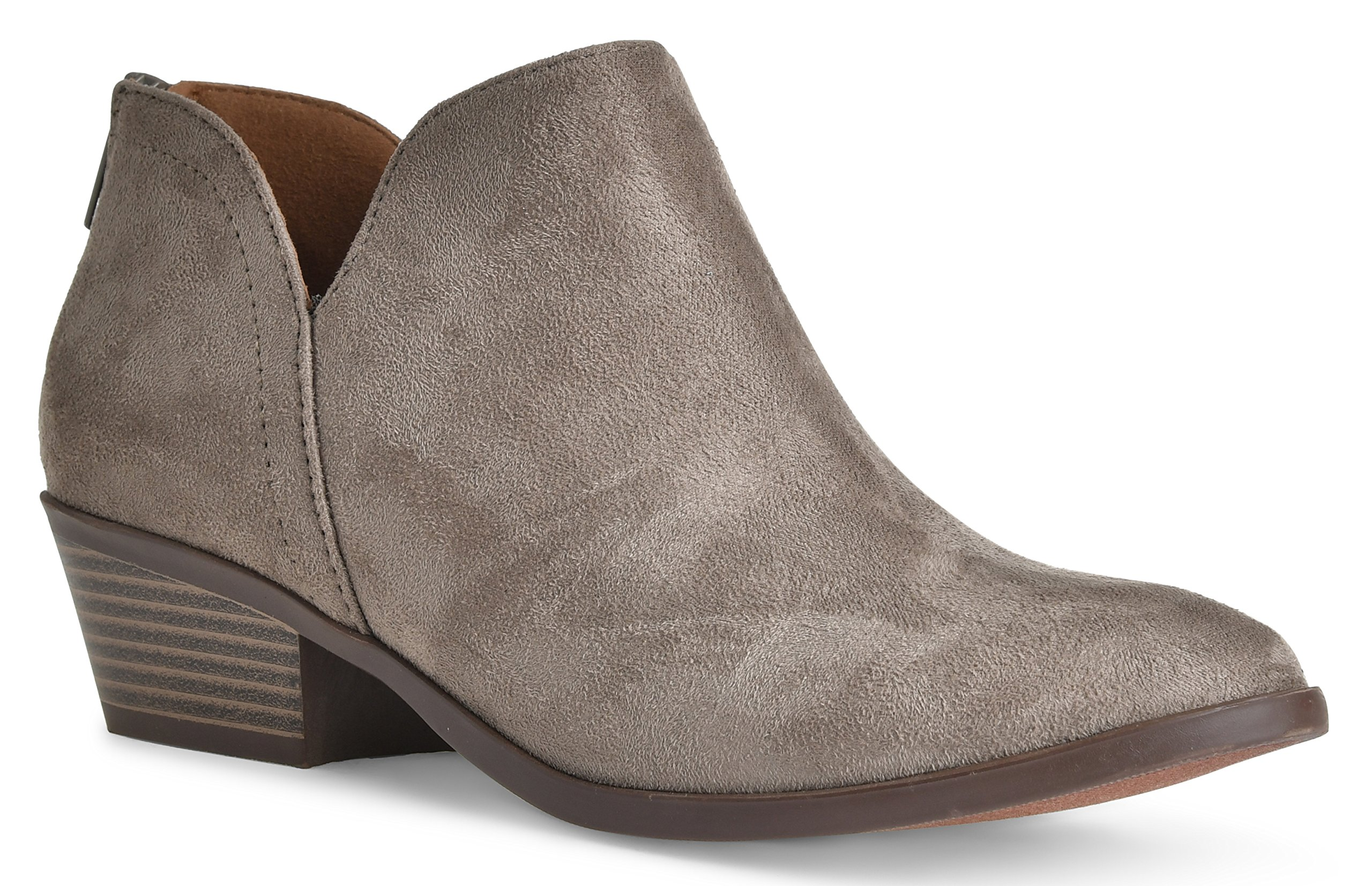 Women's Madeline Western Almond Round Toe Slip on Bootie - Low Stack Heel - Zip Up - Casual Ankle Boot Smokey Taupe Suede 8.5