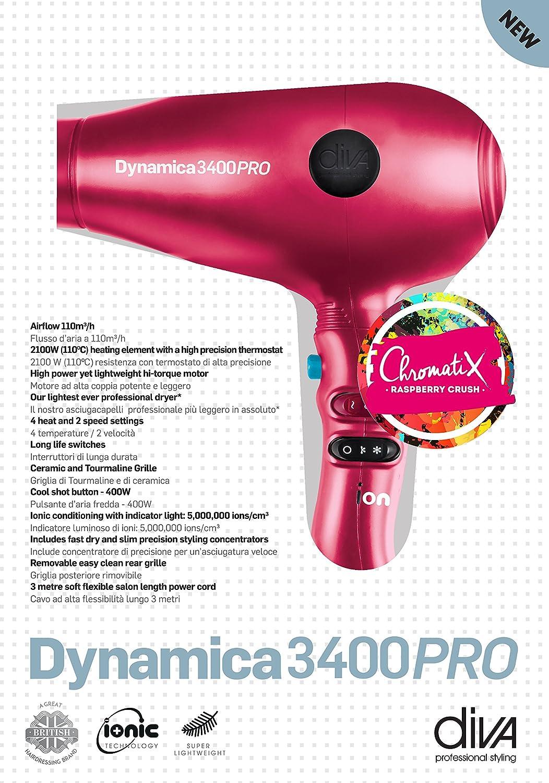Diva Professional Dynamica 3400 Pro - Secador ultra ligero, de alta potencia, color negro (black diva): Amazon.es: Salud y cuidado personal