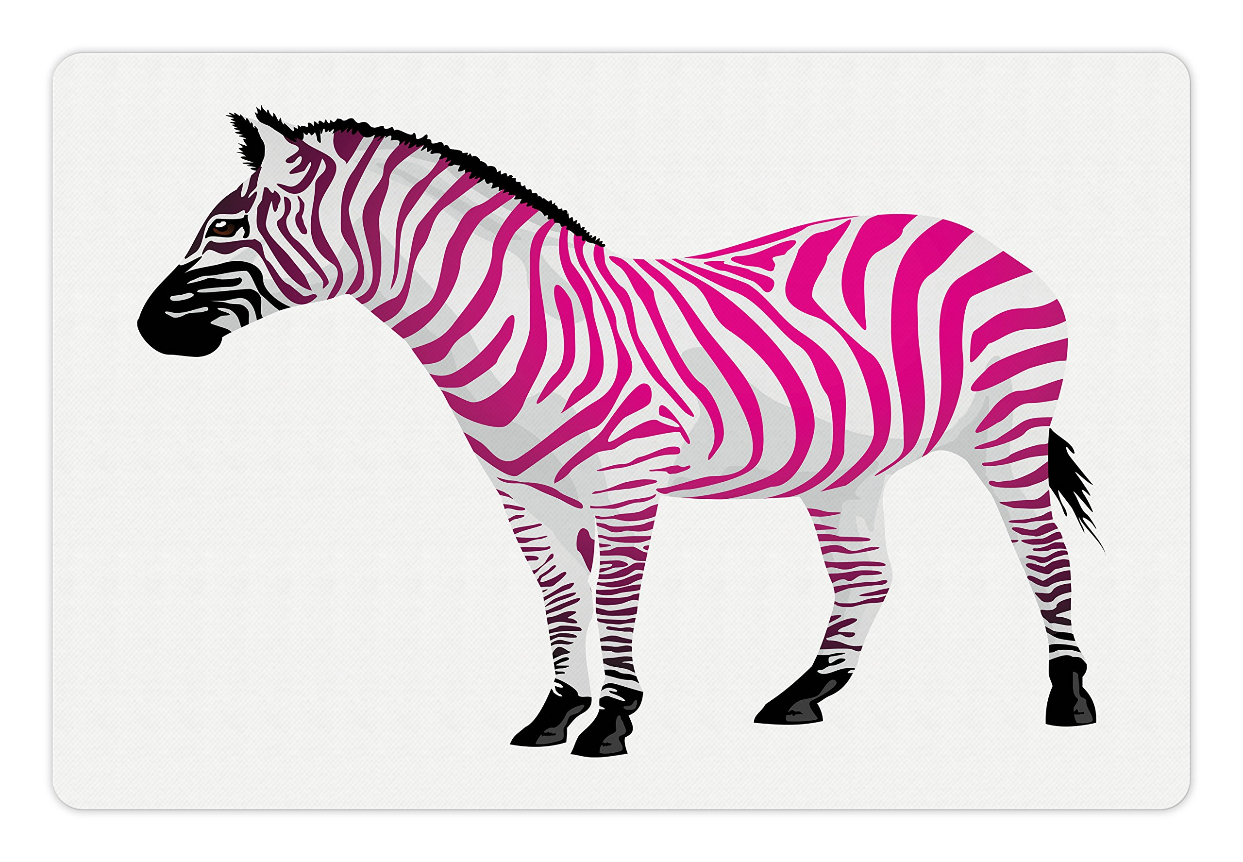 Ambesonne Pink Zebra Pet Mat for Food and Water, Zebra Figure in Pink Stripes Savannah Animal Wilderness Symbol Safari Print, Rectangle Non-Slip Rubber Mat for Dogs and Cats, Dust Black