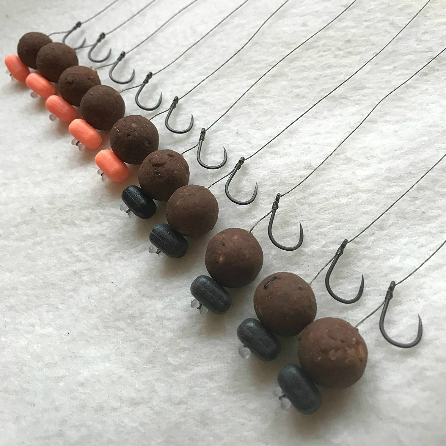 10 X KD CARP HAIR RIGS PRELOADED WITH 15mm DYNAMITE BAITS THE CRAVE BOILIES