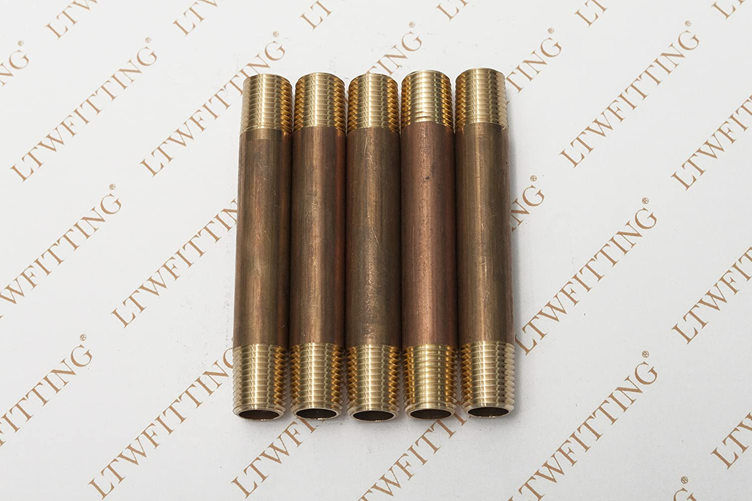 LTWFITTING Brass Pipe 3-1//2 Long Nipple Fitting 1//4 Male NPT Air Water Pack of 5