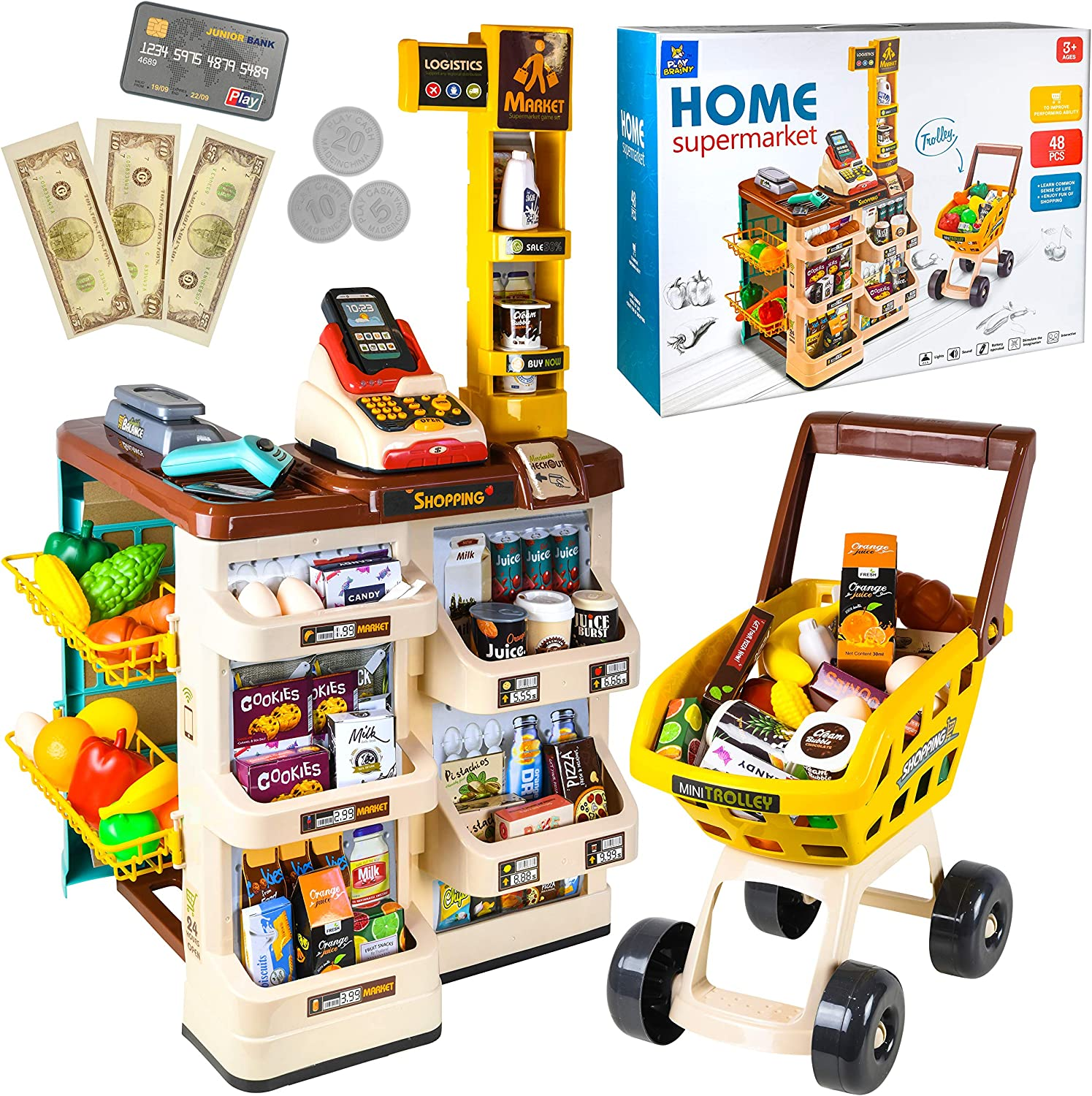 Play Brainy Kid's Supermarket Playset with Cash Register, Store Stand, Toy Food, and Trolley Cart, Interactive Play Pretend Accessories, Early Learning and Educational Fun