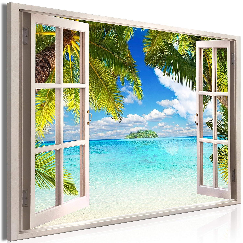Murando Mega XXXL Fensterblick Wandbild 165x110 cm - Einzigartiger XXL Kunstdruck zum Aufhängen Leinwandbilder Moderne Bilder Wanddekoration - Fenster Insel Meer See Palme blau c-C-0090-ak-a