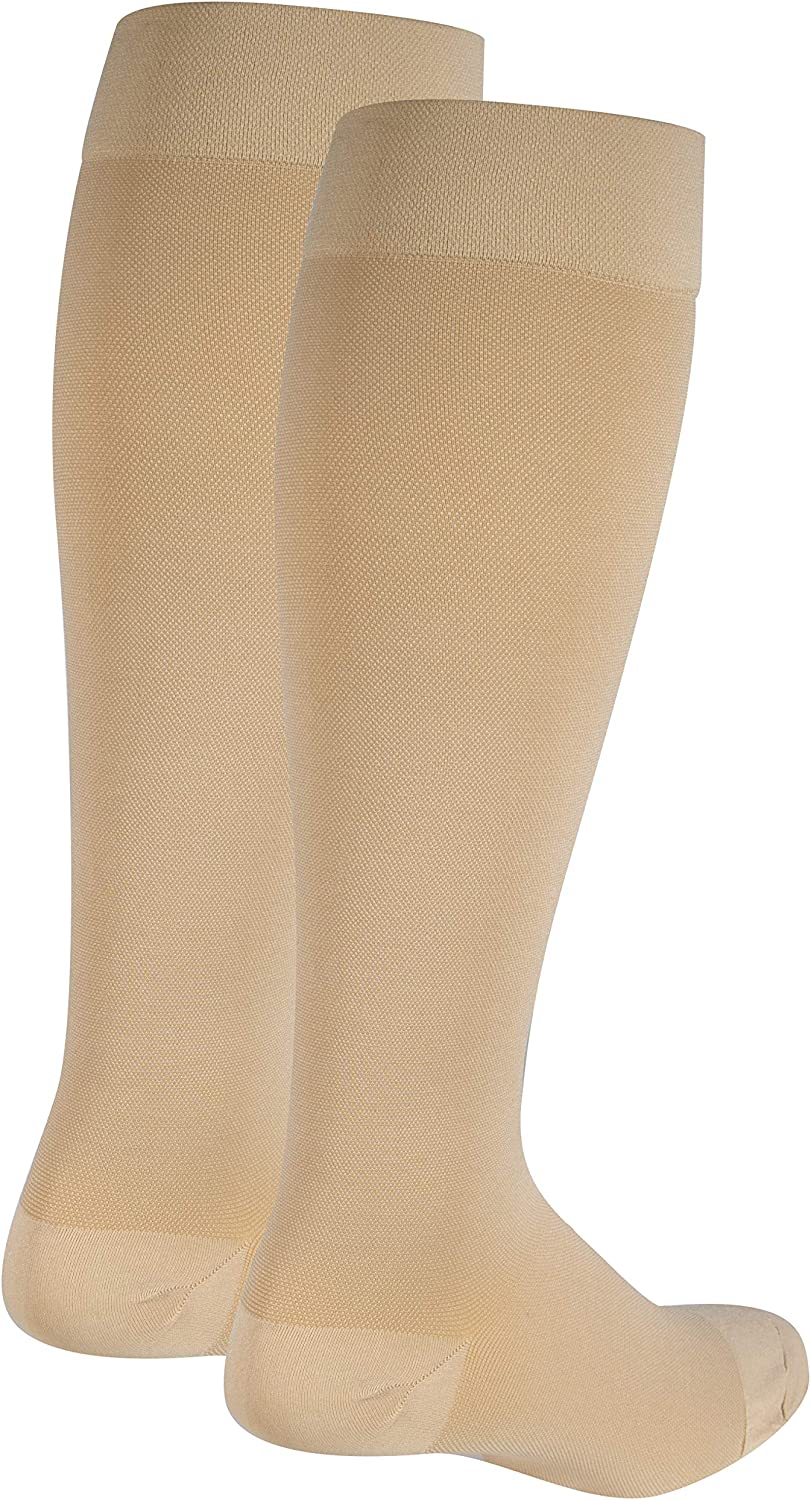 Nuvein Compression Socks for Women and Men, Medical Support Stockings, Beige (Closed Toe), Large (15-20 mmHg)