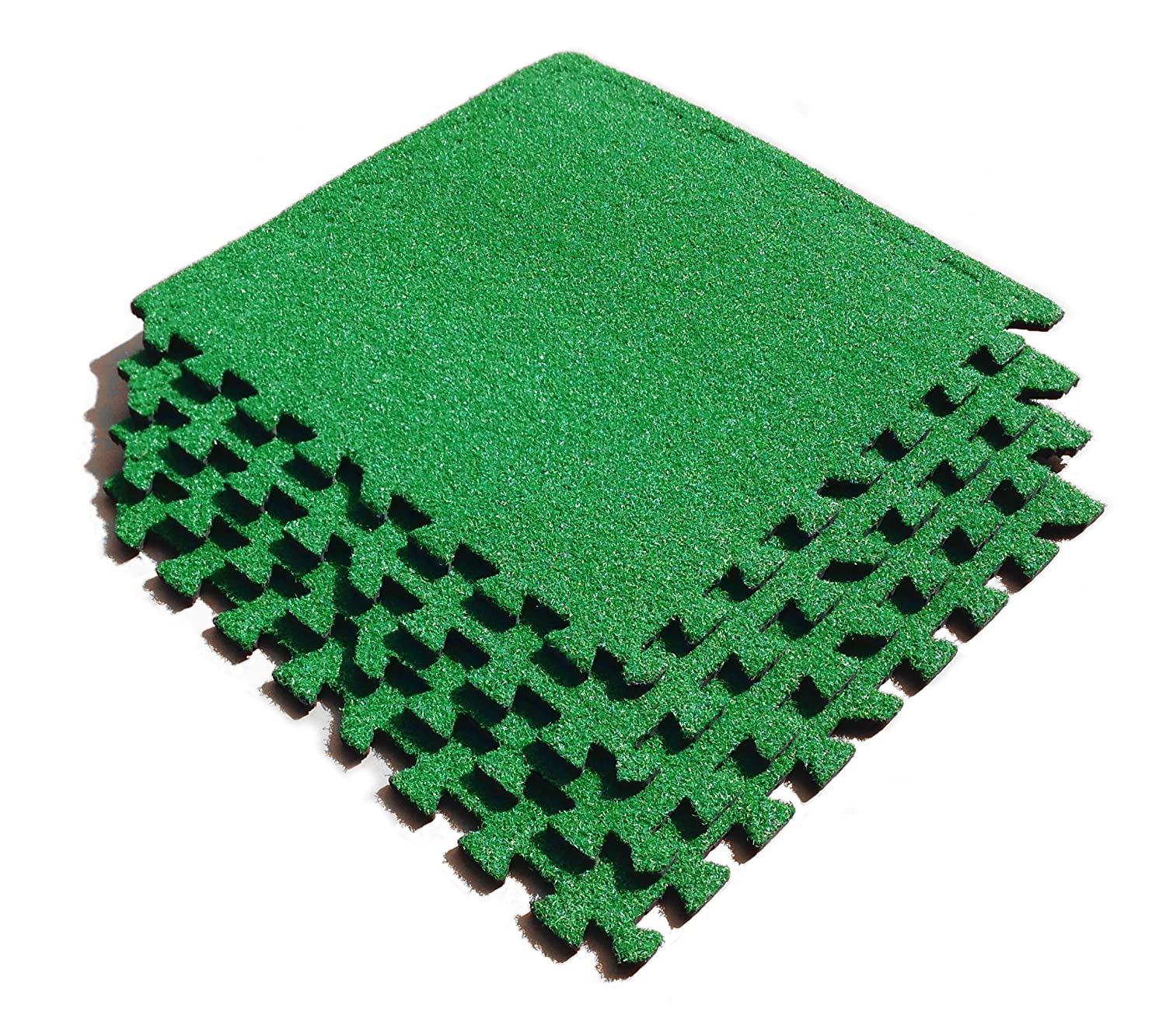 ASC Artificial Grass Tiles - EVA Tiles with Astroturf Style Covering - Football Room - Putting Green etc - 4Pk - 9 Ft Sq