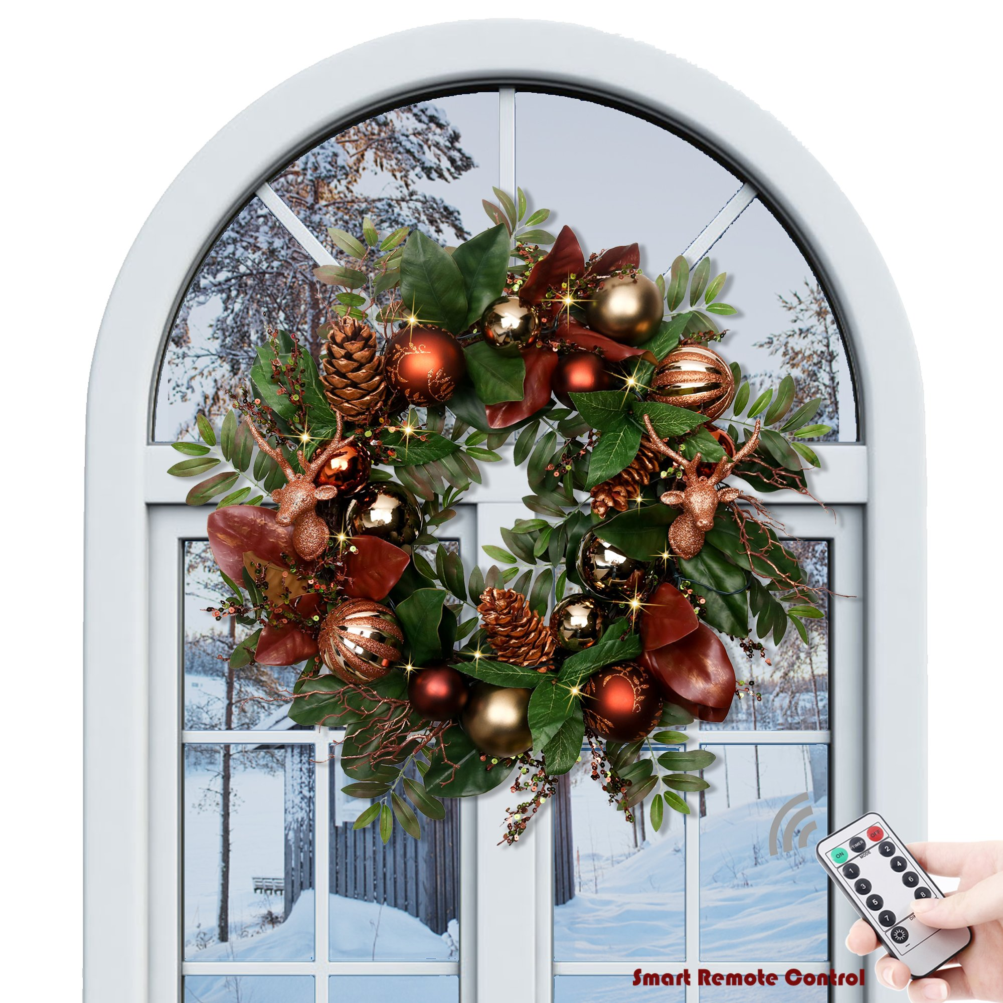 V&M VALERY MADELYN Pre-Lit 24'' Woodland Artificial Greenery Eucalypti Leaves Wreath for Home Office Wall Wedding,rattan base, Balls included, Battery Operated 20 LED Lights with Remote and Timer