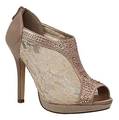 c373381d47f MVE Shoes Women s Lace Bridal High Heel Platform Peep Toe Shootie - Satin  Lace Open Toe