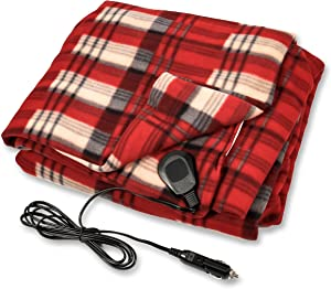 Camco Polar Fleece Heated Blanket for Cars, Trucks, and RVs - Power Cord Plugs into 12V Vehicle Power Outlet | Great for Cold Weather, Traveling, or Emergencies - Plaid Red(42804)