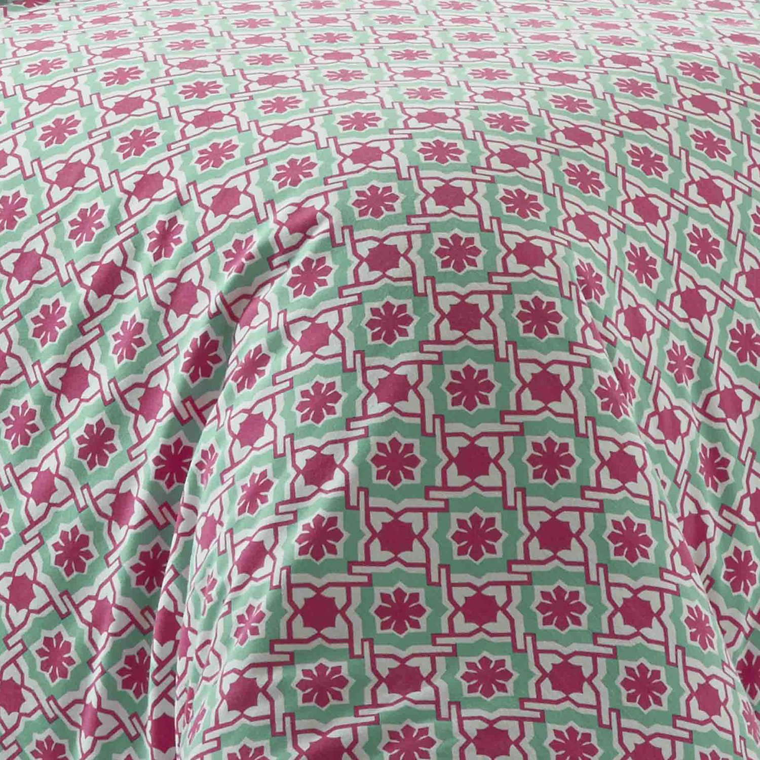 Bright Pink Poppy /& Fritz Aubrey Flannel Comforter Set Twin