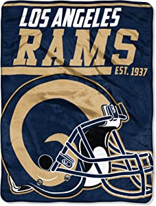 The Northwest Company 1 Pc, Los Angeles Rams Blanket 46x60 Micro Raschel 40 Yard Dash Design Rolled, Acrylic & Polyester, Extra Warm & Superior Durability, Easy Care, Machine Washable & Dryable