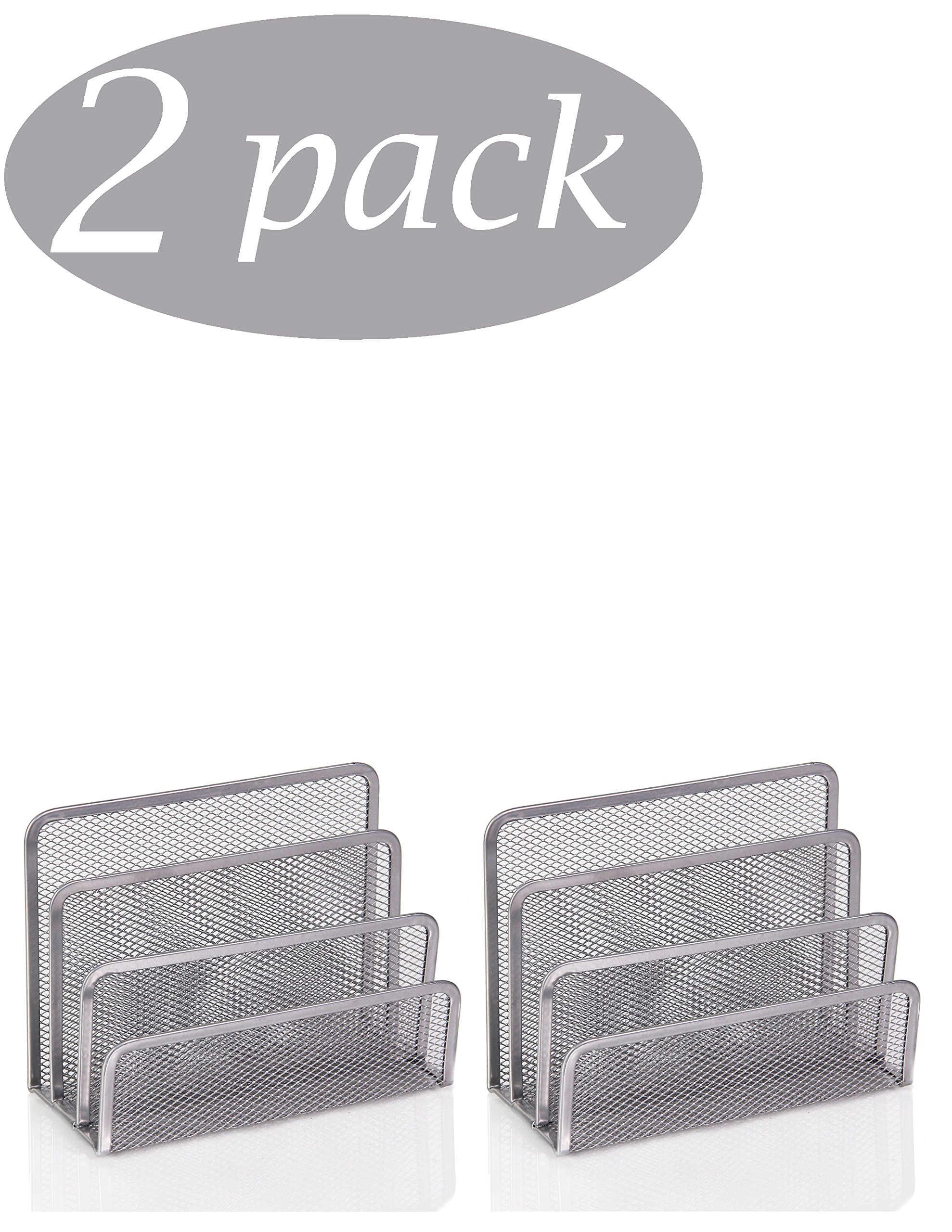Ybm Home 3 Slot Mesh Letters and Documents Sorter Holder 2372-2 (2, Silver)