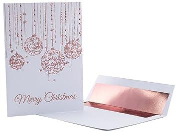 Amazon christmas cards 20 pack premium rose gold embossed christmas cards 20 pack premium rose gold embossed foil filigree quotfalling ornamentsquot m4hsunfo