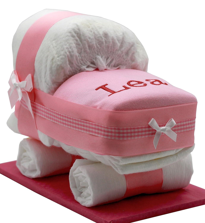 Windeltorte/Windelwagen rosa für Mädchen – mit besticktem, personalisierten Lätzchen mit Name + Glückwunschkarte Windeltorten-Welt