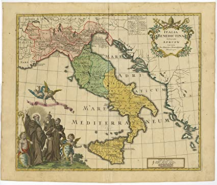 image relating to Printable Map of Sicily named : Antique Print-ITALY-SICILY-MONASTERY-BENEDICTINE