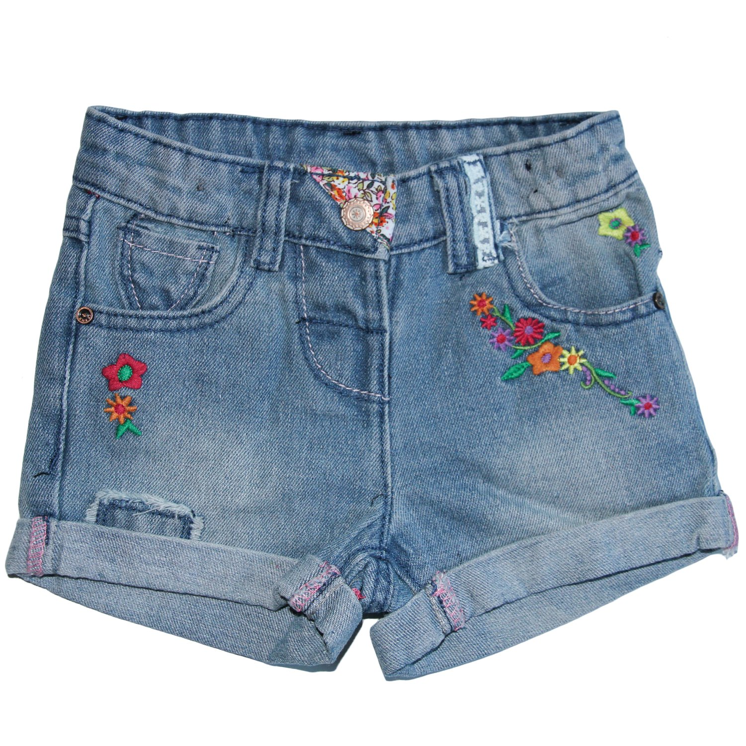Aulase Little Girls Summer Cute Printed Basic Casual Stretch Denim Jean Shorts Flower 3T