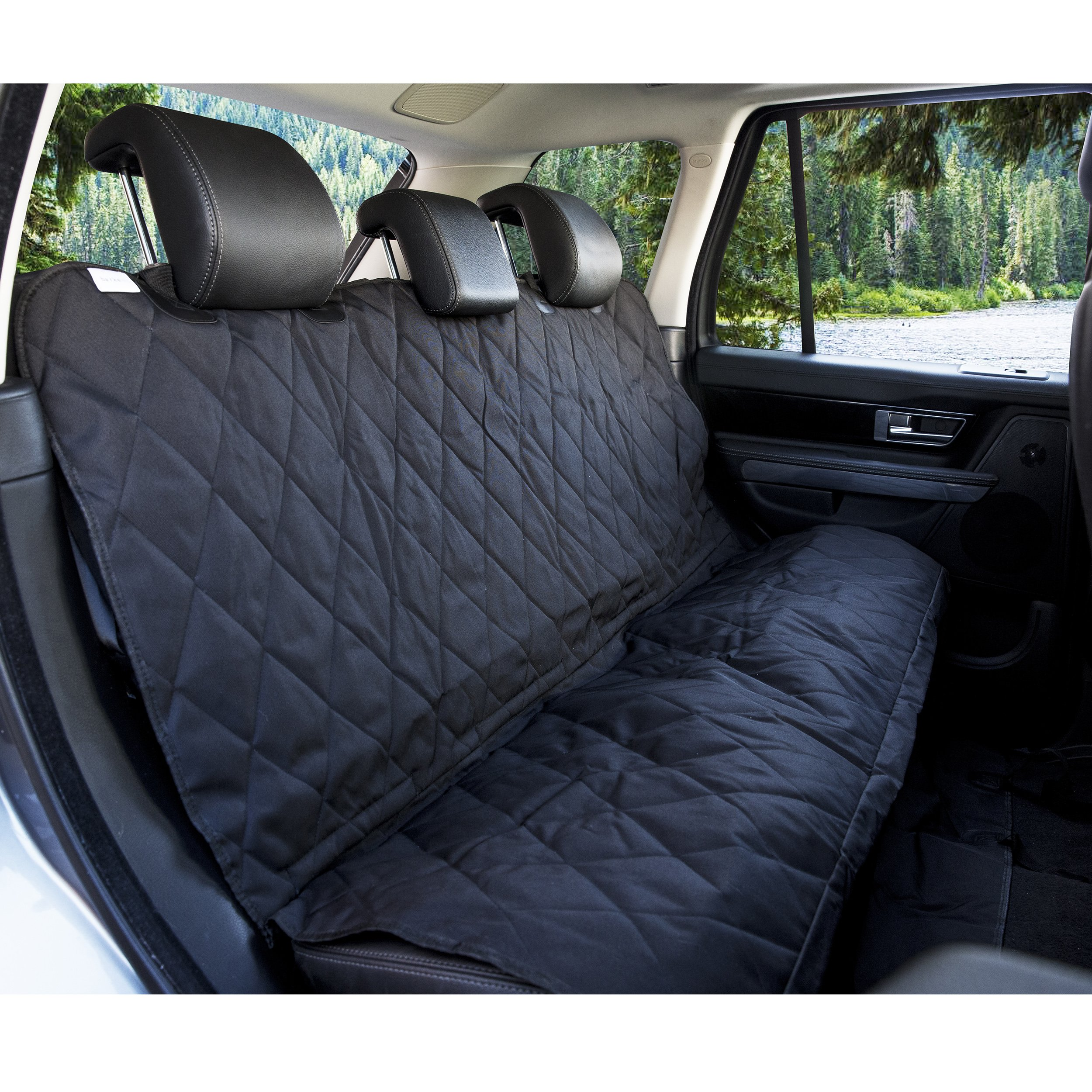 BarksBar Pet Car Seat Cover with Seat Anchors for Cars, Trucks and SUV's, Water Proof and Non-Slip Backing Regular, Black by BarksBar (Image #3)