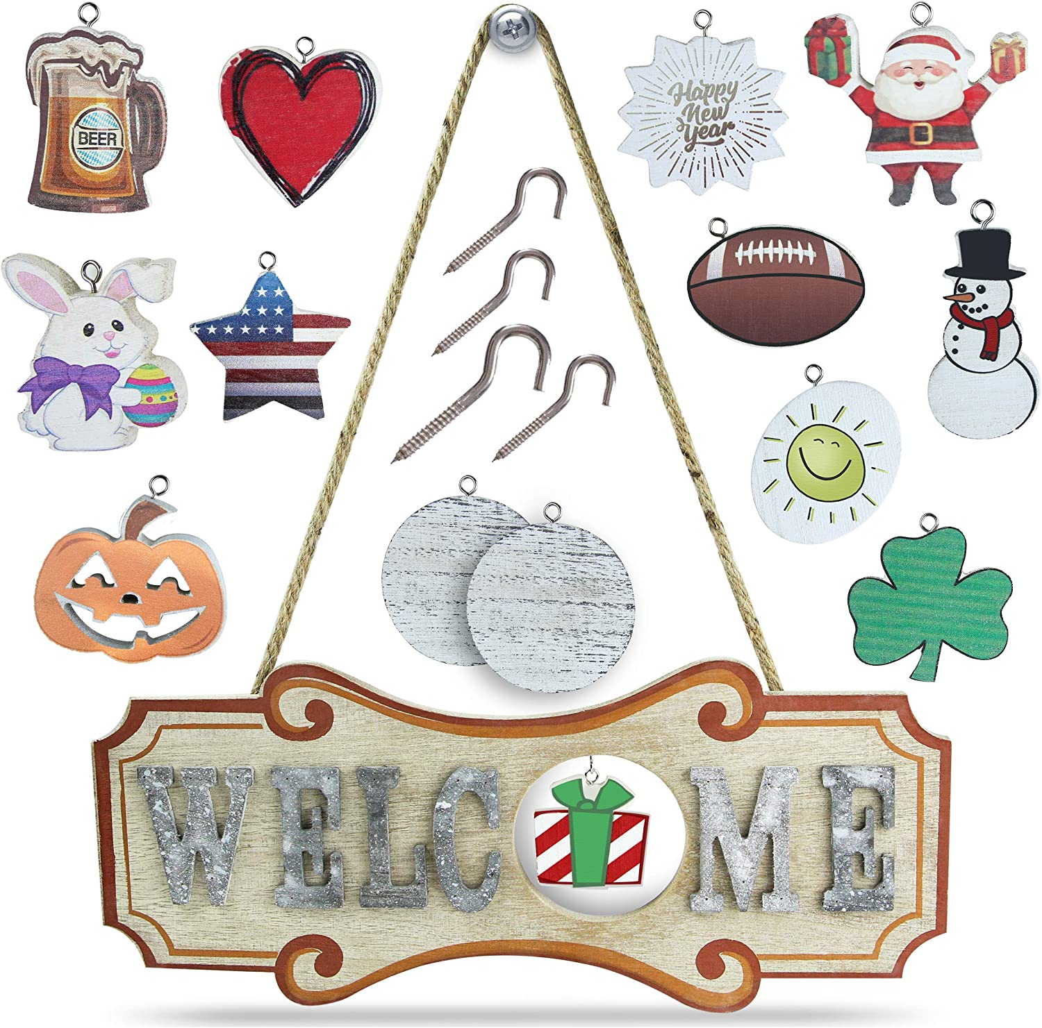 Signcrafter Wooden Interchangeable Welcome Sign: 12 Unique and 2 Customizable Plaques - Welcome Sign with Interchangeable Holiday - 4 Extra Hooks Included