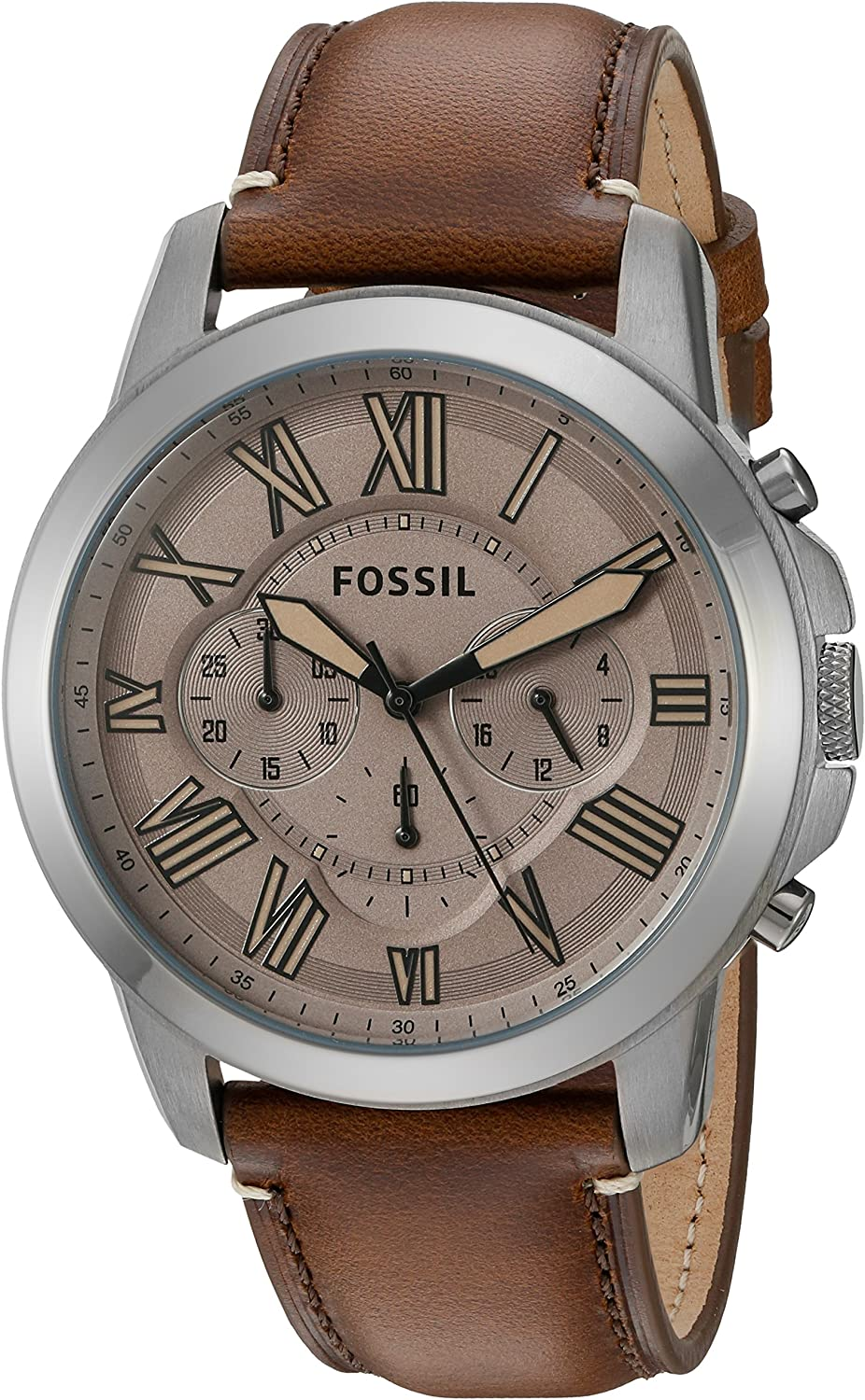 Fossil Men s FS5214 Grant Chronograph Dark Brown Leather Watch