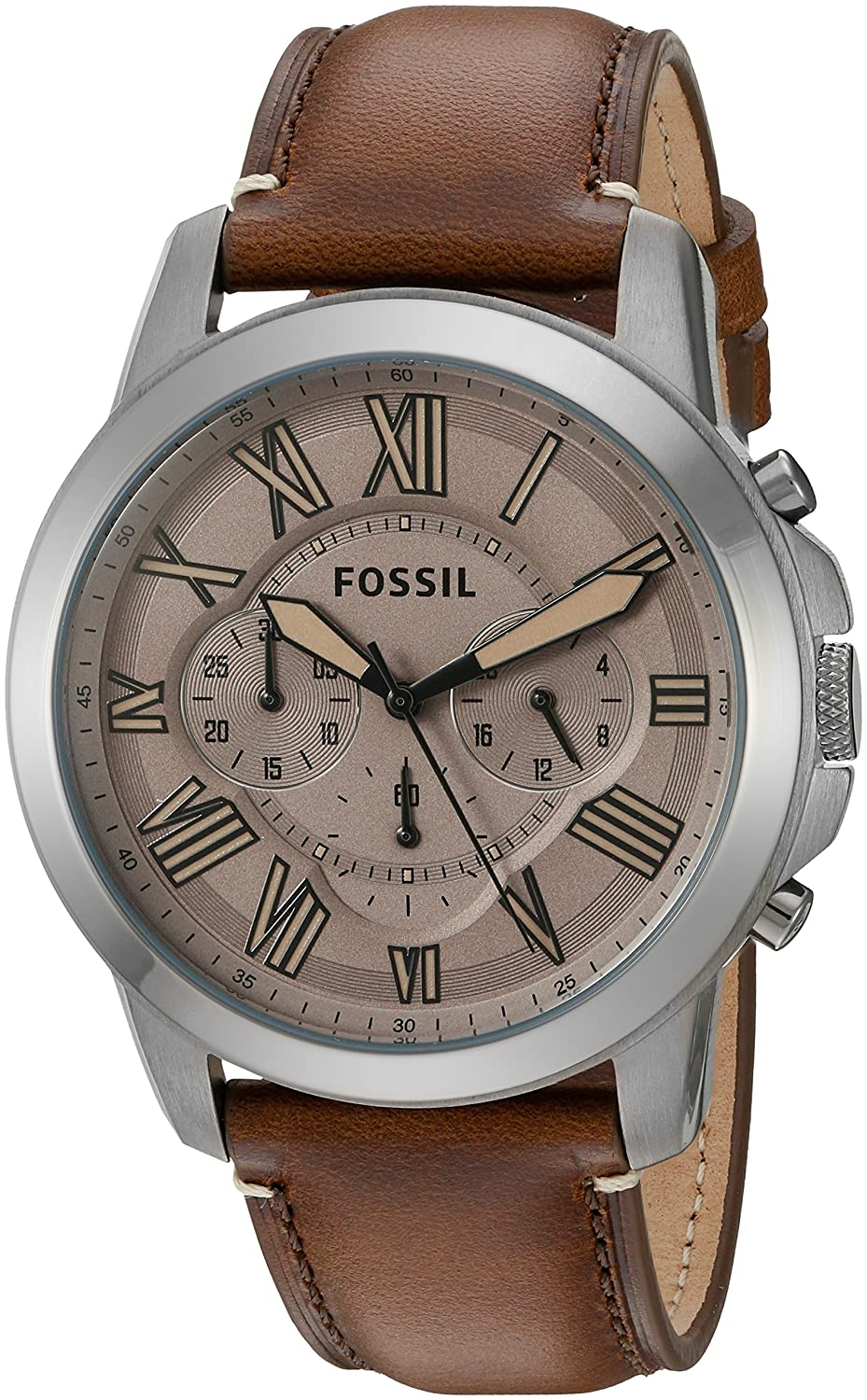 Fossil Mens FS5214 Grant Chronograph Dark Brown Leather Watch