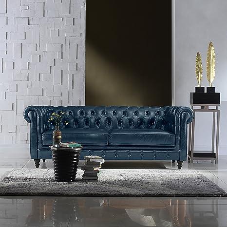 Divano Roma Furniture Classic Scroll Arm Real Italian Leather Chesterfield Sofa (Blue)