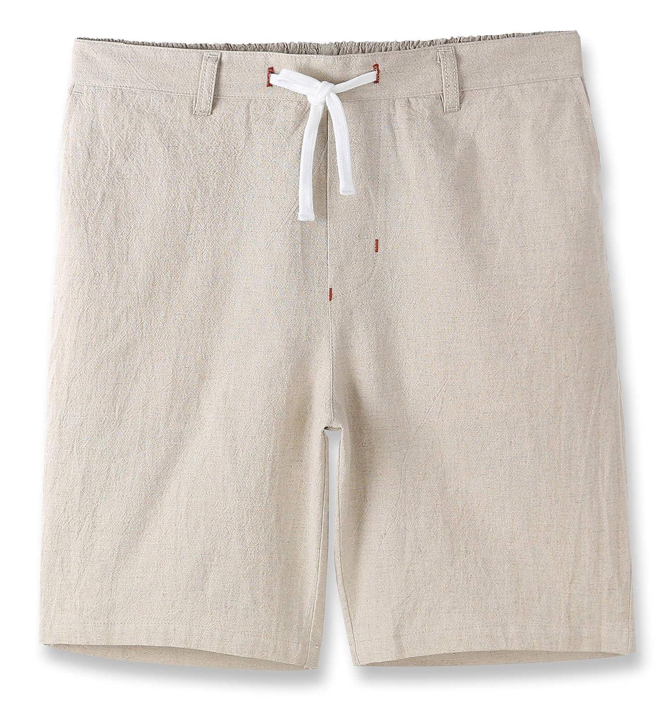 Estepoba Men's Linen Cotton Casual Classic Fit Drawstring Walk Short