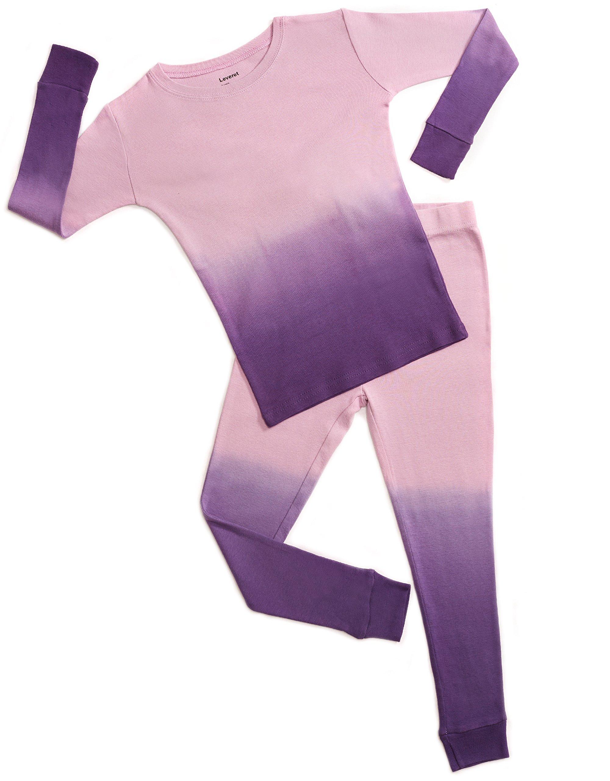 Leveret Organic Cotton Tie-Dye Purple 2 Piece Pajama Set 5 Years