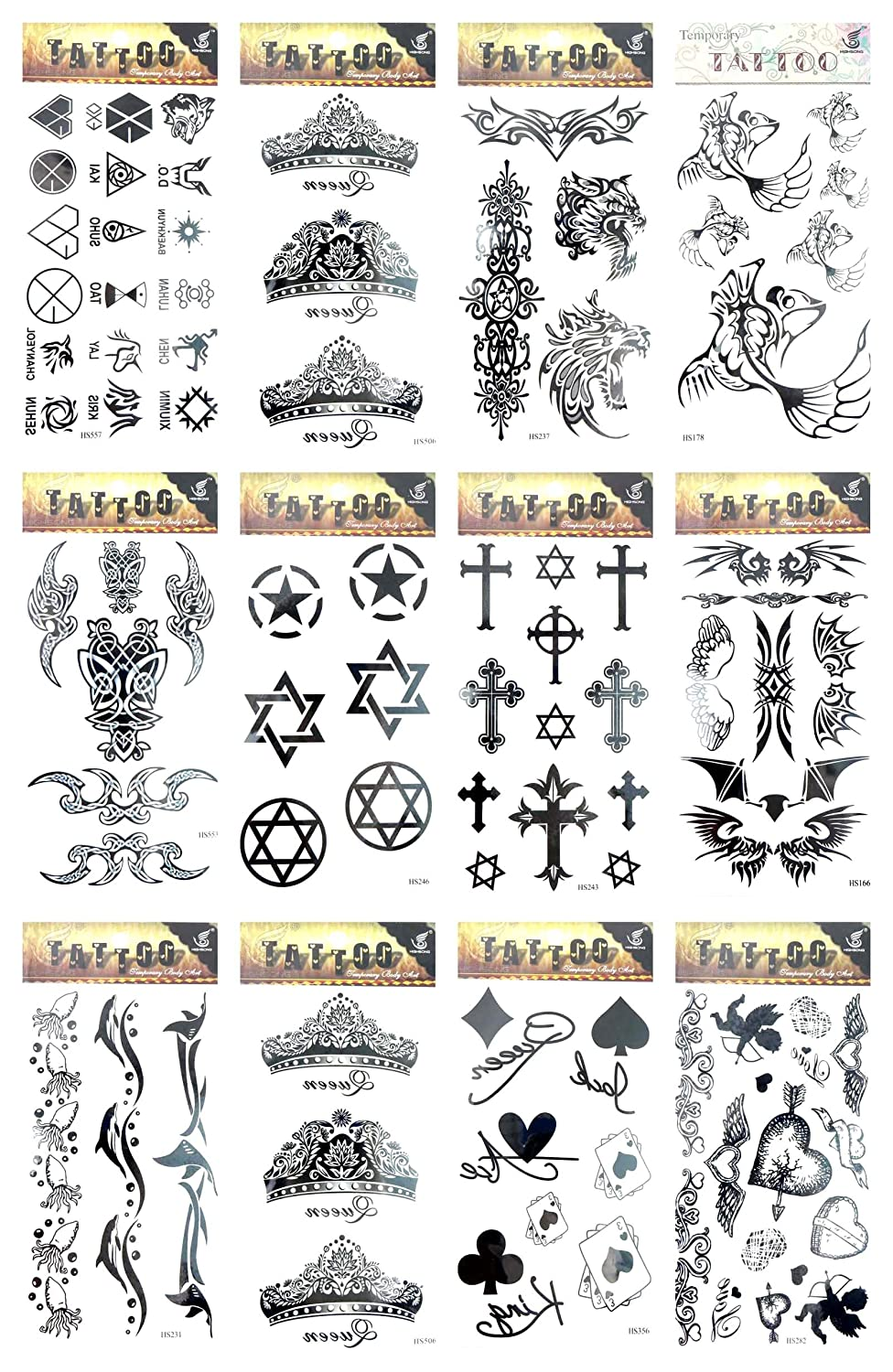 12 sheets heart pentagram cross temporary tattoo large fake tattoos