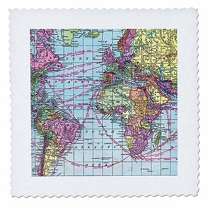 Amazon.com: 3dRose qs_112941_5 Colorful Vintage World Map-Distance ...