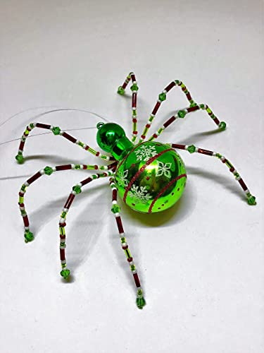christmas spider ornament jolly green shiny - The Christmas Spider