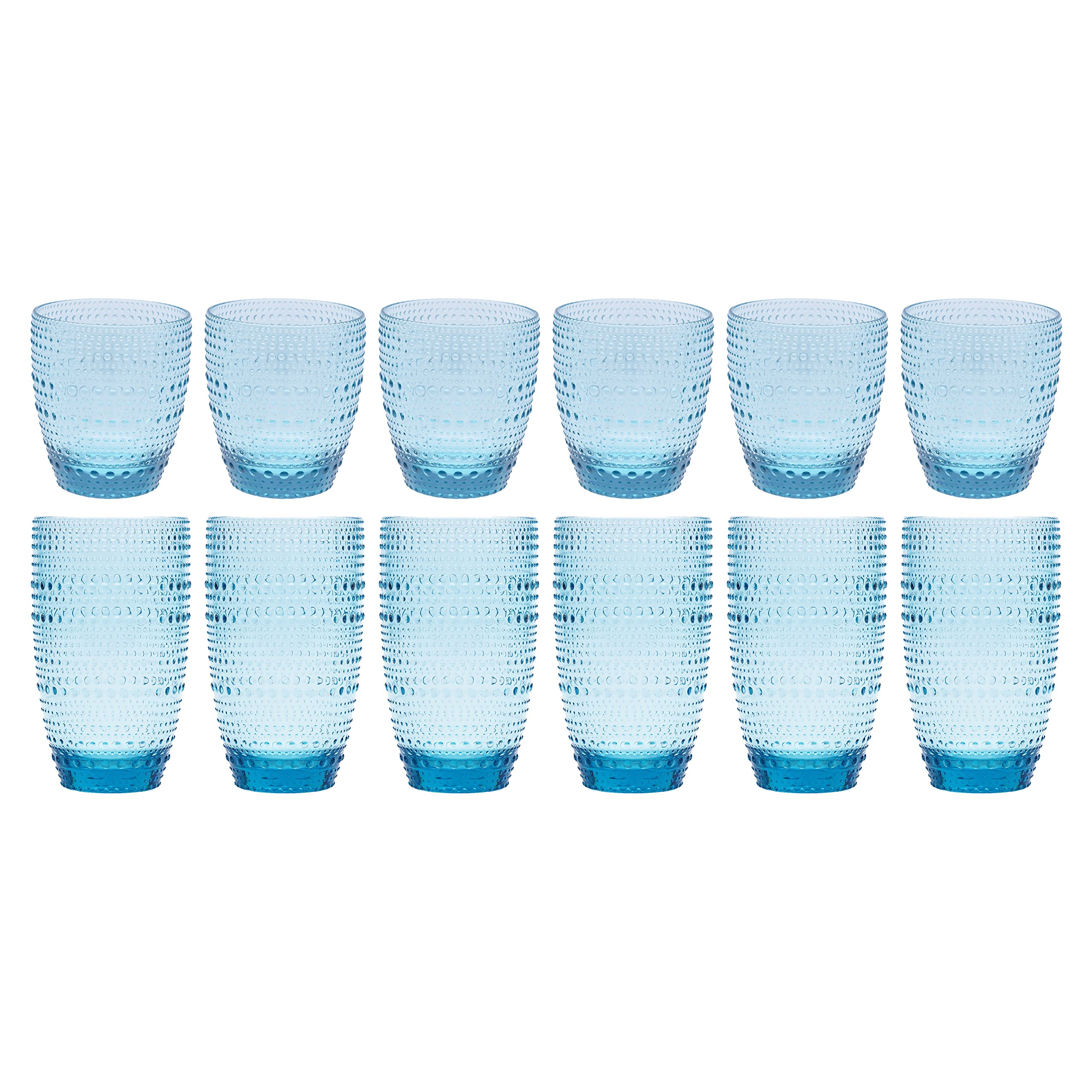 Clear Blue Acrylic Drinking Glasses, Decorative Break Resistant Tumblers for Everyday Use, Reusable Set of 12