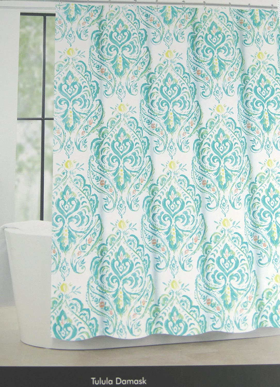"Tahari Home Fabric Shower Curtain Tulula Floral Damask Whtie/Aqua 72"" X 72"""