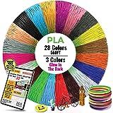28 Colors, 3 Colors Glow in The Dark, Extra Long 3D Pen /Printer Filament 560 Feet, Premium PLA , Each Color 20 Feet, Bonus 1