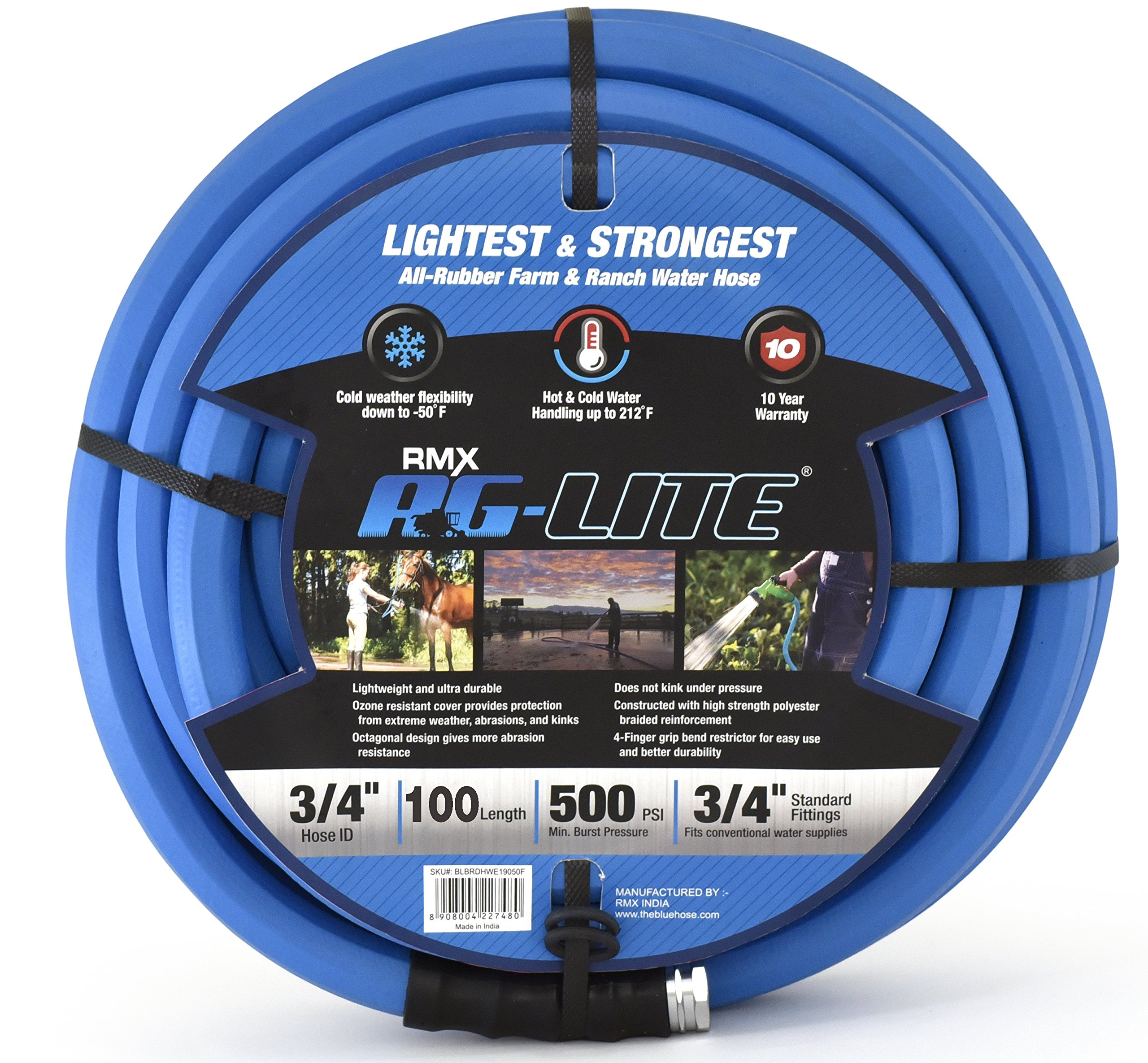 AG-Lite Rubber Hot & Cold Water Rubber Garden Hose: Ultra-Light & Super Strong - 10 Year Warranty (3/4'' x 100')