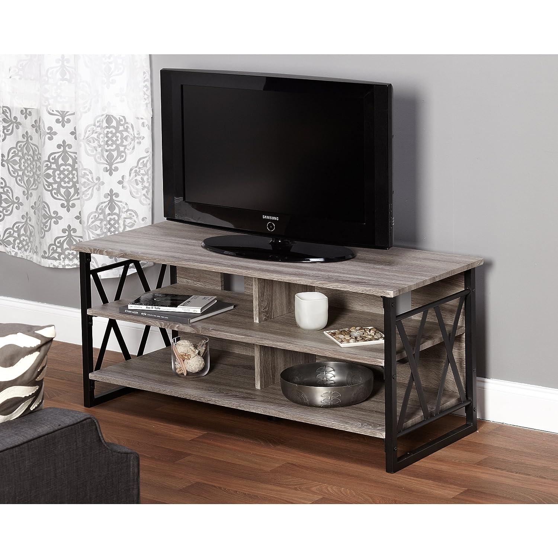 Amazon Com Metro Shop Seneca Xx 48 Inch Black Grey Tv Stand